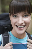 Woman wearing backpack — Stock Photo