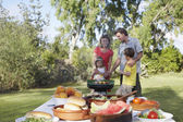Family grilling — Stock Photo