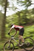 Mountainbiker Cycling Downhill — Stock Photo