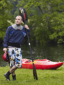 Kayaker Standing — Stock Photo