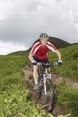 Mountainbiker on a Trail — Stock Photo