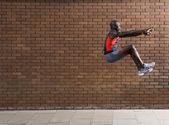 Athlete Performing Jump — Stock Photo