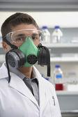 Technician Wearing Gas Mask — Stock Photo