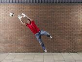 Goalkeeper Saving Ball — 图库照片