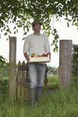 Farmer Carrying Box — Stock Photo