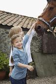 Children Petting Horse — Stock Photo