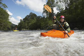 Whitewater Kayakers on River — Stock Photo