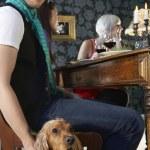 Man petting dog — Stock Photo #33884607
