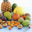 Stock Photo: Arrangement of exotic fruits