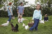 Parents and three children — Stock Photo