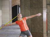 Athlete Throwing Javelin — Stock Photo