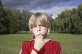 Boy Blowing Whistle — Stock Photo