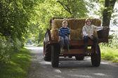 Boys on Tractor Trailer — Stock Photo