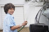 Boy Washing Car — Stock Photo