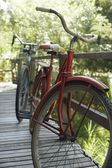Old bicycles on porch — Stock Photo