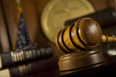 Gavel in court room — Stock Photo