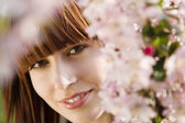 Woman Looking Through Blossoms — Stock Photo