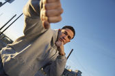 Man in fighting stance — Stock Photo