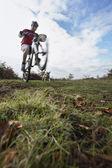 Man performing wheeley on mountain bike — Stock Photo
