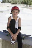 Boy with skateboard — Stock Photo