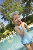 Girl wearing snorkelling gear — Stock Photo