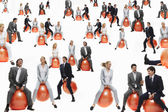 Businesspeople Bouncing on Balls — Stock Photo
