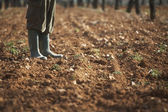 Man in galoshes on soil — Stock Photo