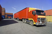 Truck and cargo containers — Stock Photo