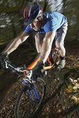 Mountain biker in woodland — Foto de Stock