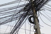 Tangle of Electrical Wires on Power Pole — Stock Photo