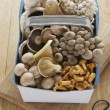 Stock Photo: Assorted mushroom in basket