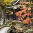 Temple garden with stone bridge — Stock Photo