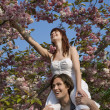 Man Lifting Woman up to Tree Branch — Stock Photo #33897807