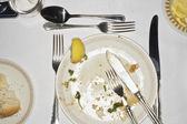 Dirty Plate and Silverware — Stock Photo