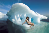 Woman Sitting on Iceberg — Stock Photo