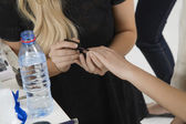 Manicurist Painting Nails of Model — Stock Photo