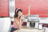 Woman in a Diner — Stockfoto