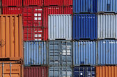 Shipping containers in storage yard — Stock Photo