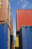 Stacked containers in seaport stockyard — Stock Photo