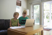 Brothers using laptop — Stock Photo
