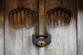 Weathered Wood Door and Old Lock — Stock Photo