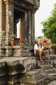 Photographer Sitting on Steps — Stock Photo