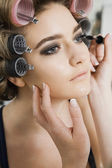 Model Having Makeup Applied — Stock Photo