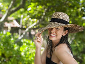 Woman with Sun Hat — Stock Photo