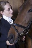 Horseback rider with horse — Stock Photo