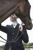 Orseback rider with horse — Stock Photo