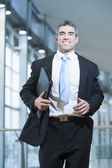 Businessman runs towards camera — Stock Photo