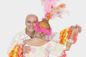 Senior couple in Brazilian outfits — Stock Photo