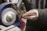 Craftsman working with stone — Stock Photo