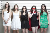 Women in police lineup — Stock Photo